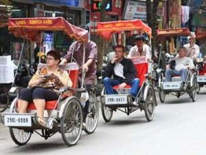 Cyclo pousse dans la vielle ville Hanoi